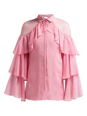 Giambattista Valli ruffled lace insert silk blouse