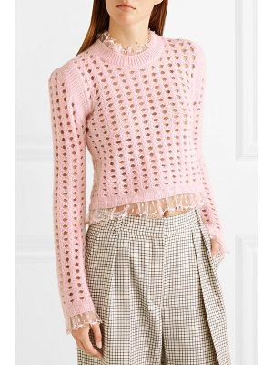 Giambattista Valli lace-trimmed open-knit wool and mohair-blend sweater