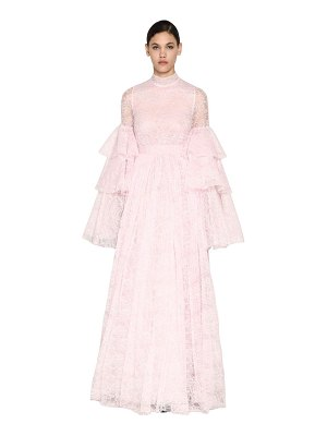 Giambattista Valli Long ruffled chantilly lace dress