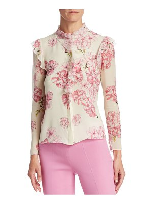 Giambattista Valli ruffled floral silk blouse