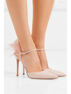 Gianvito Rossi 100 feather-trimmed patent-leather pumps