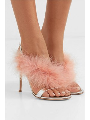 Gianvito Rossi 105 feather-trimmed mirrored-leather slingback sandals