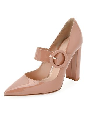Gianvito Rossi 105mm Patent Buckle Mary Jane Pumps