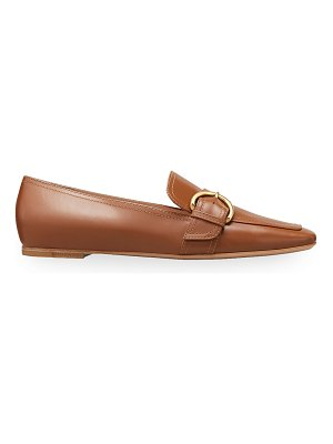 Gianvito Rossi 5mm Flat Square-Toe Leather Loafers