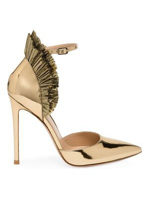 Gianvito Rossi annabelle ruffled tulle metallic pumps
