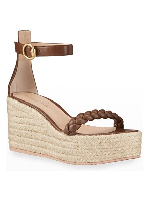 Gianvito Rossi Braided Leather Wedge Espadrilles