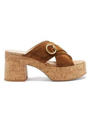 Gianvito Rossi buckled suede and cork platform sandals