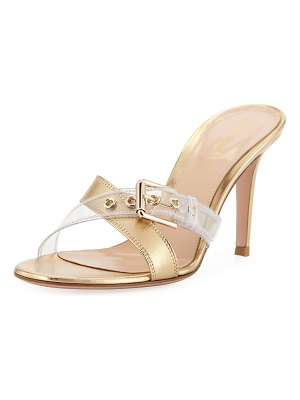 Gianvito Rossi Crisscross Plexi Slide Sandals