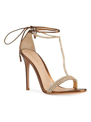 Gianvito Rossi Crystal Ankle-Tie Stiletto Sandals