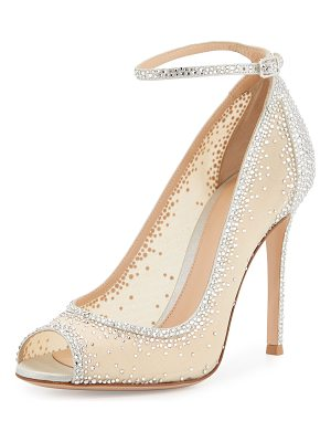 GIANVITO ROSSI Gemma Crystal Peep-Toe Ankle-Strap Pump