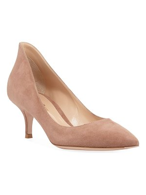 Gianvito Rossi High-Back Suede Low-Heel Pumps
