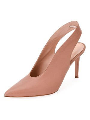 Gianvito Rossi High-Vamp Lamb Leather Slingback Pumps