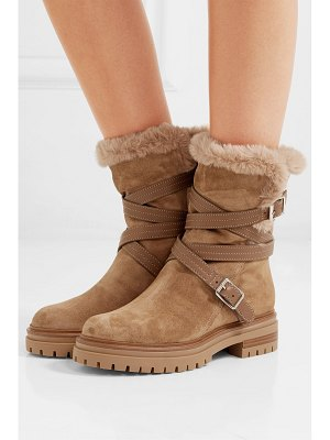 Gianvito Rossi leather and faux fur-trimmed suede ankle boots