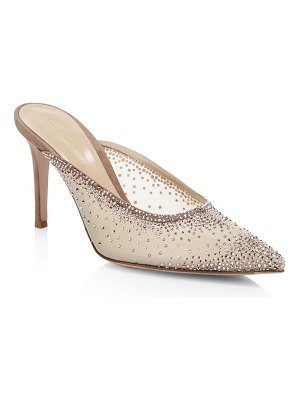 Gianvito Rossi leather crystal-embellished point-toe mules