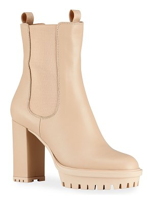 Gianvito Rossi Leather Lug-Sole Platform Booties