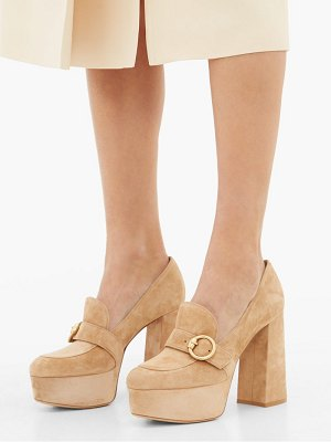 Gianvito Rossi loafer-style suede platform pumps