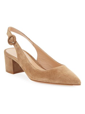 Gianvito Rossi Low-Heel Suede Slingback Pumps