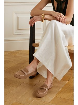 Gianvito Rossi maxime leather-trimmed suede loafers