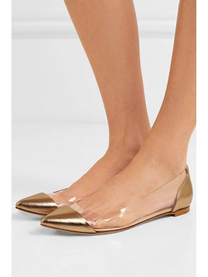 Gianvito Rossi metallic leather and pvc point-toe flats