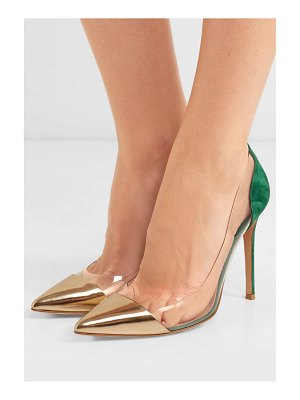 Gianvito Rossi plexi 105 metallic leather, suede and pvc pumps