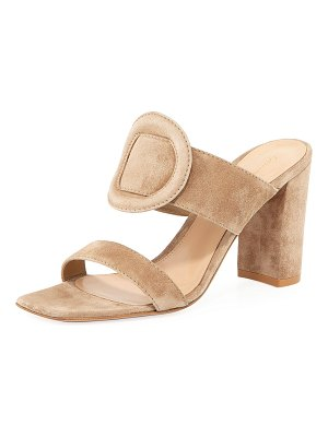 Gianvito Rossi Ring-Detail Suede 85mm Slide Sandals