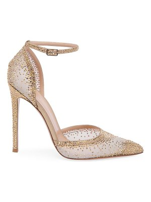 Gianvito Rossi sabin ankle-strap crystal-embellished silk & leather pumps