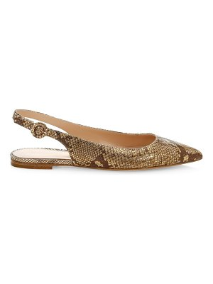 Gianvito Rossi dallas snakeskin-embossed leather slingback flats