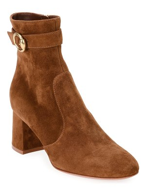 Gianvito Rossi Suede Ankle Booties with Gold Buckle