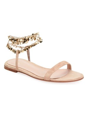 Gianvito Rossi Suede Chain Ankle-Wrap Flat Sandals