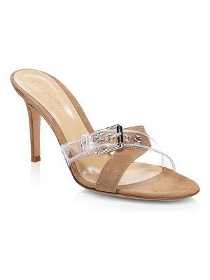 Gianvito Rossi suede & clear buckle-strap mules