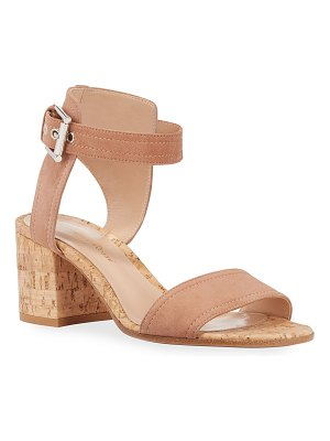 Gianvito Rossi Suede Cork-Heel City Sandals