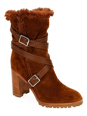Gianvito Rossi Suede Eco Buckle Ankle Boots