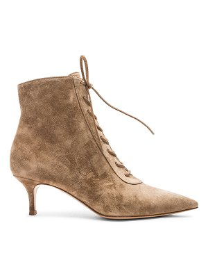 Gianvito Rossi Suede Kitten Heel Lace Up Ankle Boots