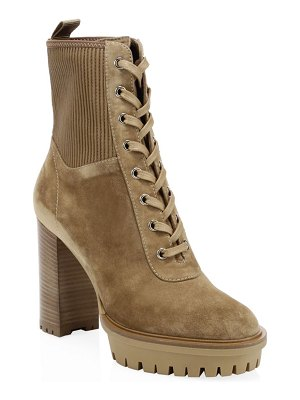 Gianvito Rossi suede lace-up block heel booties
