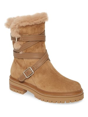 Gianvito Rossi wrap belt faux shearling boot