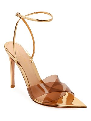 Gianvito Rossi XX Plexi Metallic Ankle-Wrap Sandals