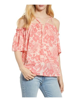 Gibson cold shoulder multi strap top