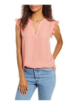 Gibson x city safari roselyn weaver split neck lace trim top