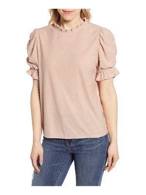 Gibson x international  day rebecca clip dot ruffle sleeve blouse