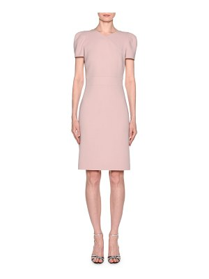 Giorgio Armani Short-Sleeve Wool Crepe V-Neck Dress