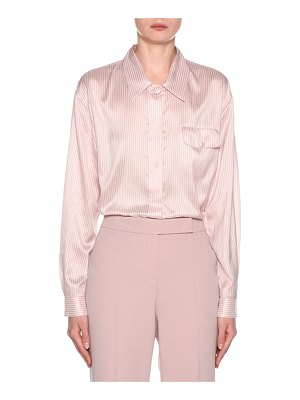 Giorgio Armani Striped Silk Button-Front Blouse