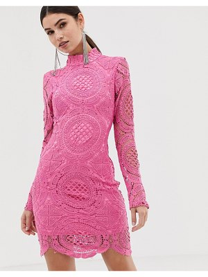 Girl In Mind high neck long sleeve lace mini dress
