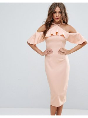 Girl In Mind halterneck frill cold shoulder midi dress