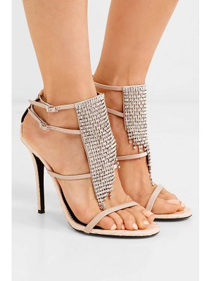 Giuseppe Zanotti alien crystal-embellished python-effect and patent-leather sandals