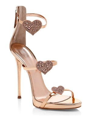 Giuseppe Zanotti swarovski crystal & leather stiletto heart sandals