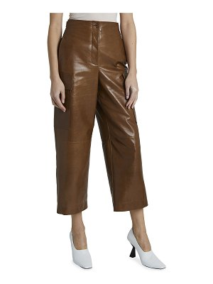 Givenchy Cropped Leather Cargo Pants w/ Buttons