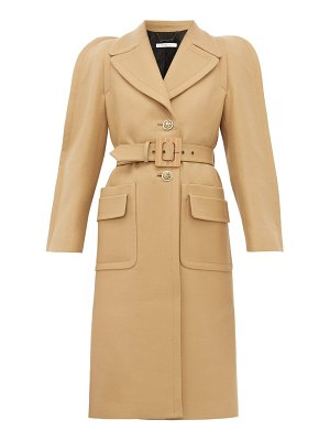 Givenchy exaggerated shoulder belted wool blend coat