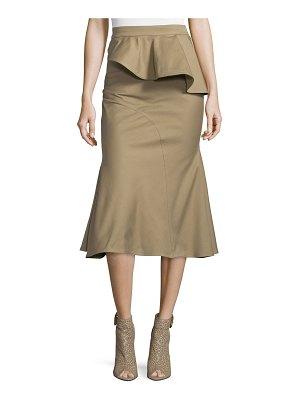 Givenchy High-Waist Peplum Drill Midi Skirt
