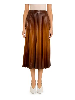 Givenchy Ombre Pleated Leather Midi Skirt