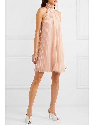 Givenchy satin-paneled ruffled pleated silk-georgette halterneck mini dress